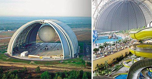 Gran hangar y gran parque acuático
