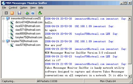 MSN Messenger Monitor Sniffer