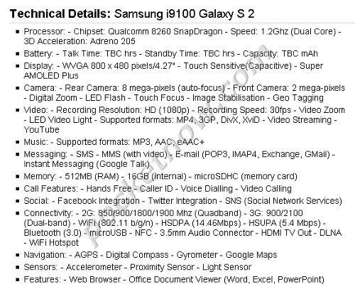 Especificaciones del Samsung I9100 Galaxy S2