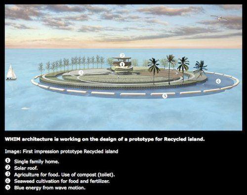 Isla hecha con basura oceánica