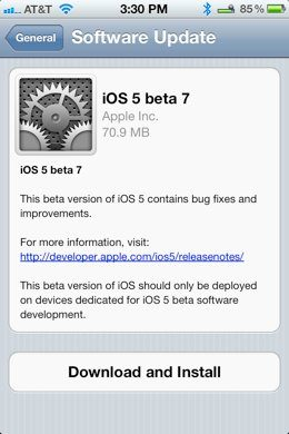 Apple lanza la beta 7 de iOS 5