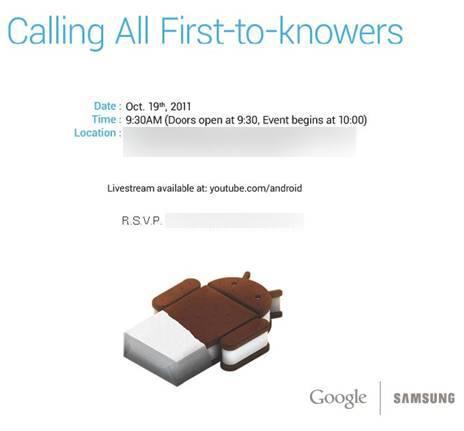 El nuevo Galaxy Nexus y Android 4.0 serán presentados el 19 de octubre