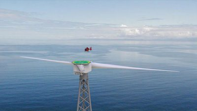 Esta turbina es tan grande que incluso tiene un helipuerto