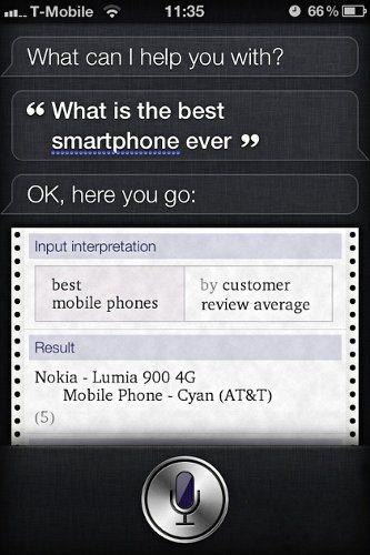 Según Siri, el Nokia Lumia 900 es el mejor smartphone