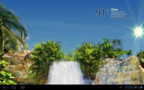 True Weather, Waterfalls una app que mezcla fondos animados y pronósticos del tiempo
