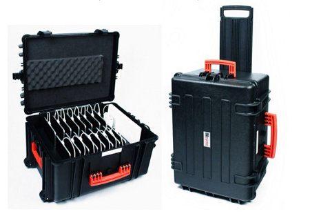 Necesitas recargar y llevar 16 iPads a la vez Usa la InSync Transport Case