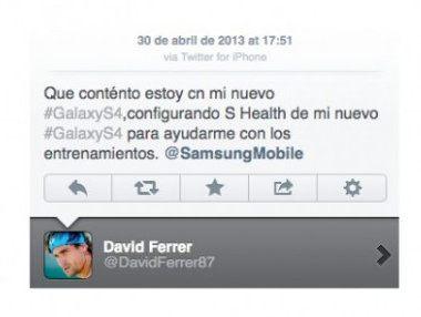 David Ferrer promociona el Galaxy S IV... desde su iPhone