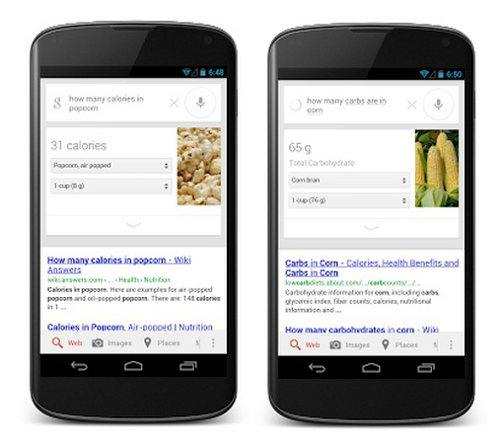 Google incluirá información nutricional en las búsquedas de alimentos