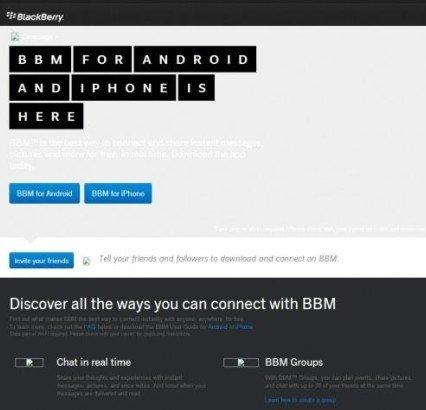 Se deja ver brevemente la página de BBM para iOS y Android