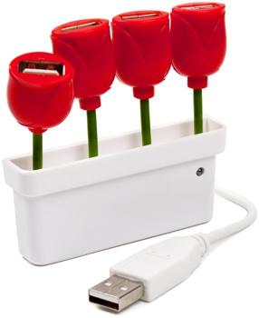 Hub USB con diseño de flores