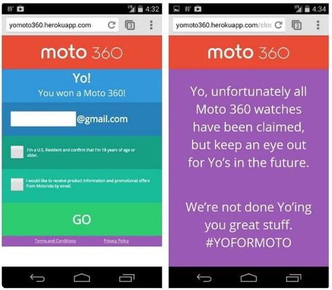 Un sorteo de 20 unidades del Moto 360 termina en desastre