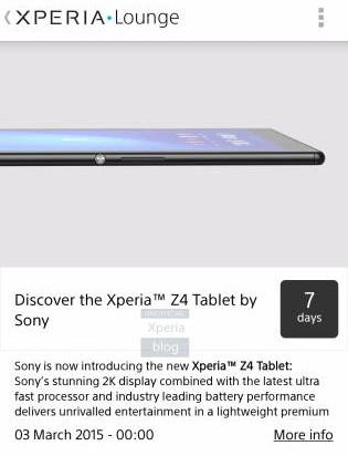 La Sony Xperia Z4 Tablet será anunciada el 3 de marzo