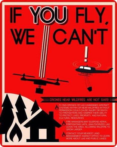 Cuidado con el uso de drones en zonas de incendios