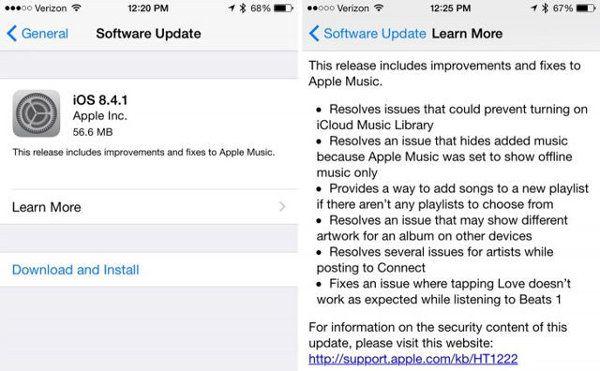 iOS 8.4.1 ya está disponible