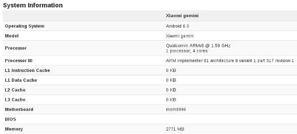 El Xiaomi Gemini usará un Snapdragon 820
