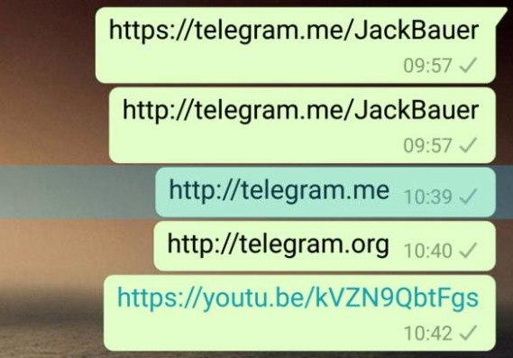 WhatsApp para Android está bloqueando enlaces de Telegram