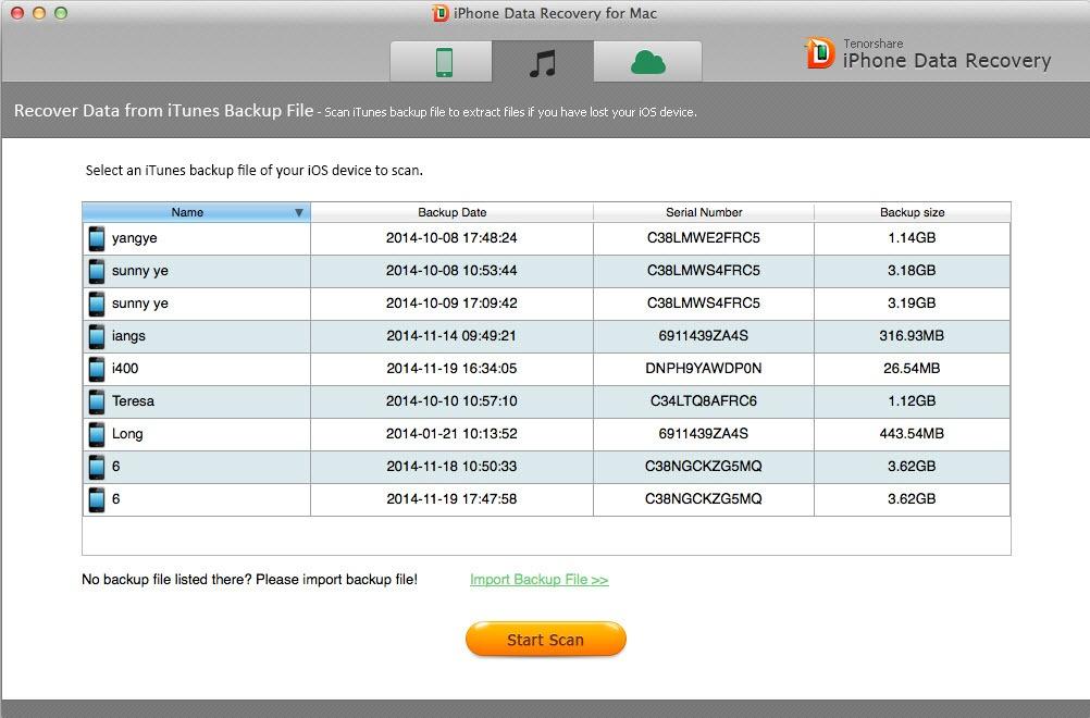 recuperación de datos de iphone usando Tenorshare iPhone Data Recovery