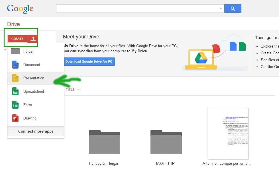 Primer paso para crear una presentación online, crear la presentación en Google Slides