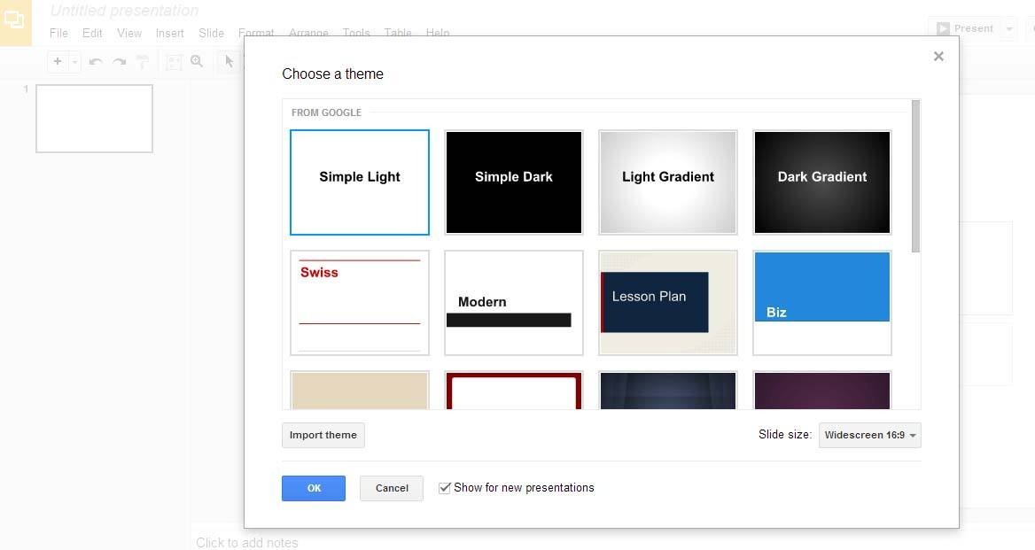 Elige el tema de tu presentación para comenzar a crear powerpoints online
