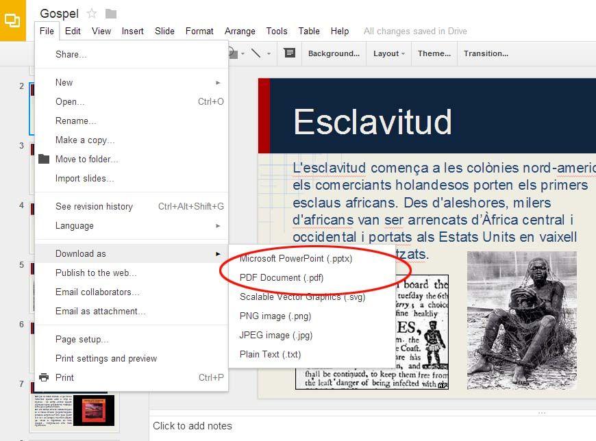 Exporta tus presentaciones en otros formatos como PDF