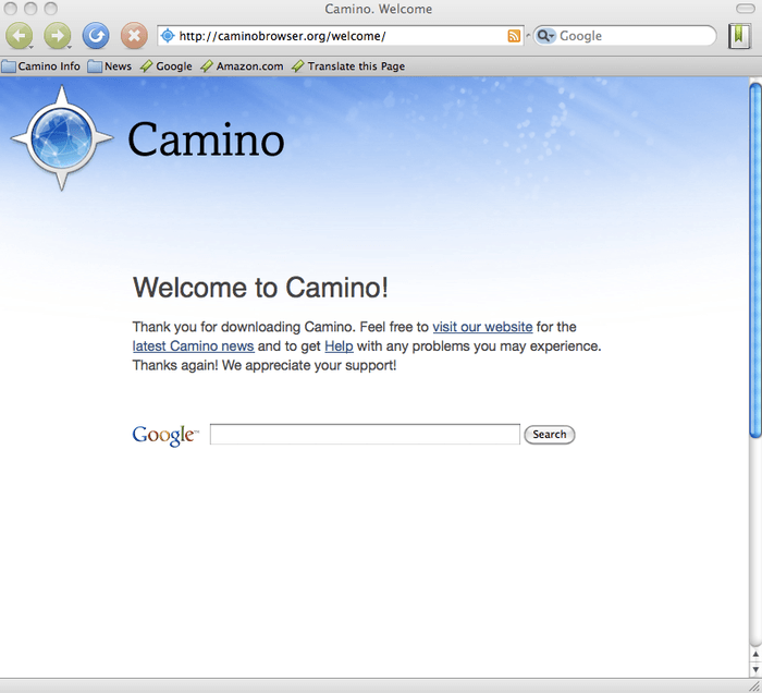 Camino, un naveador web diferente y que luce muy interesante