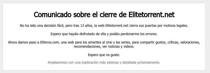 cierre EliteTorrent