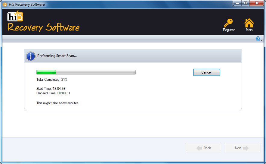 Screenshot de Hi5 recovery software escaneando una unidad para su posterior recuperación de datos