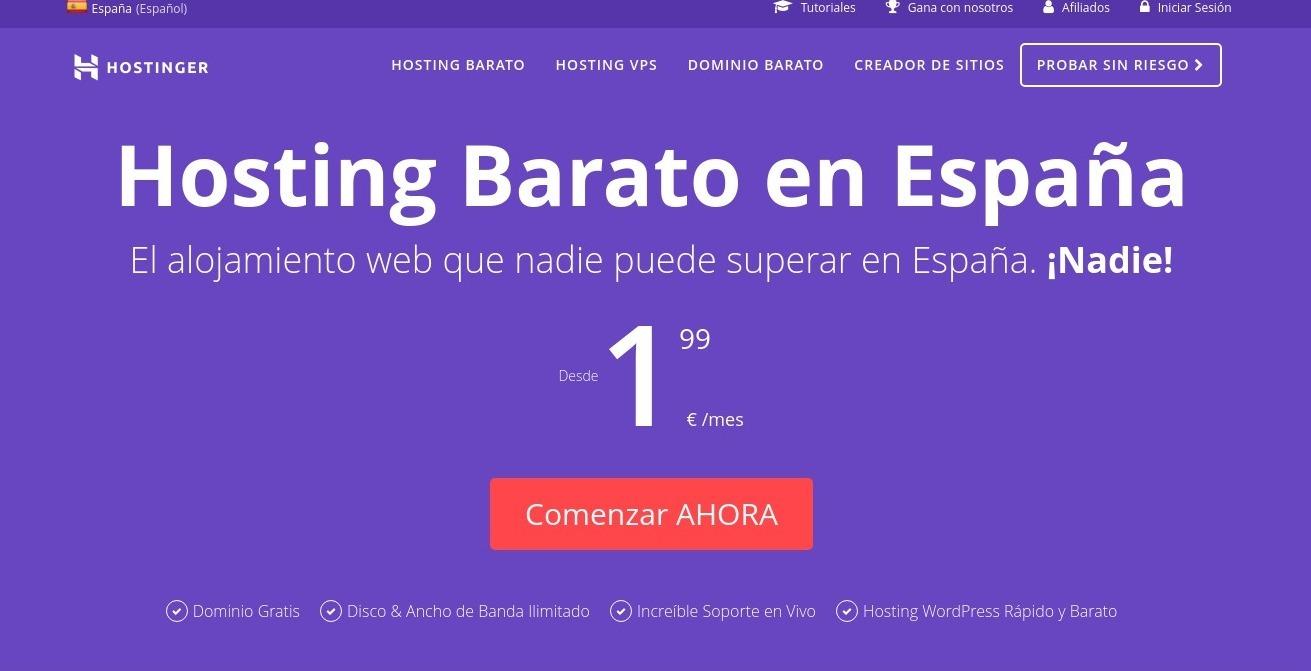 Screenshot of Hosting barato España - alojamiento web y dominios gratis, crear web