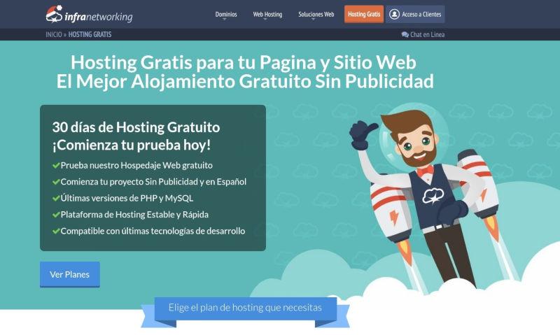 pantallazo del hosting gratis para WordPress de infranetworking.com
