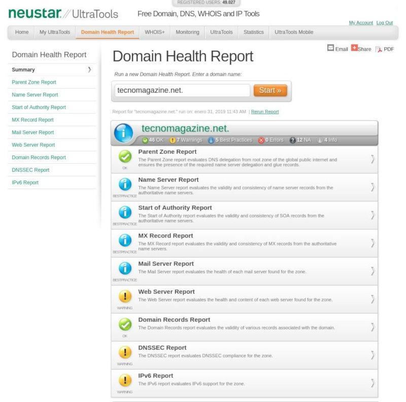 Reporte de salud de dominio de UltraTools