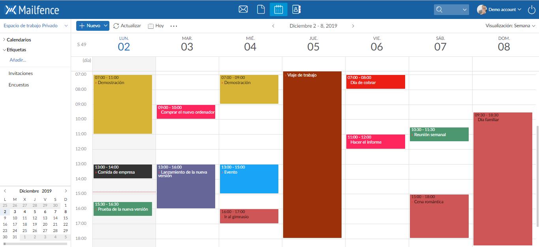 Calendario de Mailfence