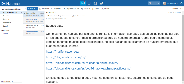 Servicio de email de Mailfence