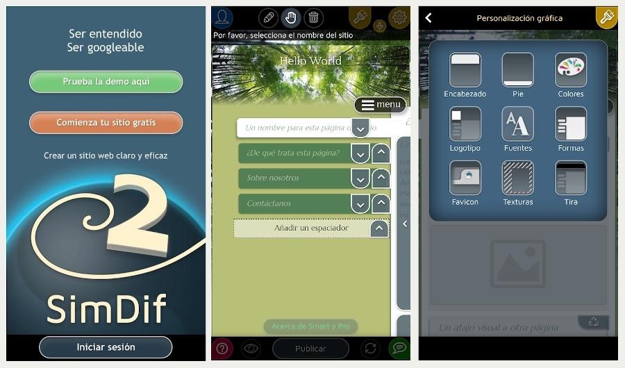 Que es SimDif, la app para crear una web desde tu móvil